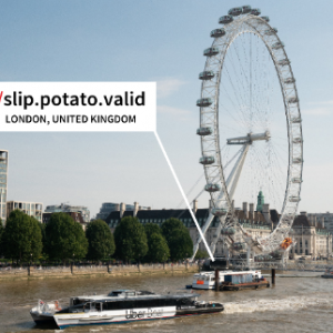 """A picture of the London eye and a boat on the Thames. A speech bubble points to a dock with three words """"slip.potato.valid"""""""